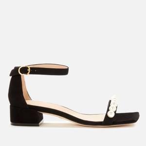 Stuart Weitzman Women's Nudistjune Square Pearls Block Heels - Black