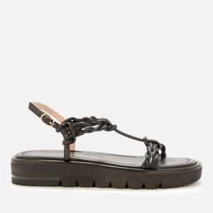 Stuart Weitzman Women's Calypso Leather Flatform Sandals - Black