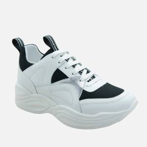 Valentino Shoes Women's Leather/Suede Chunky Running Style Trainers - Black/White