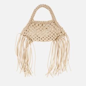 Yuzefi Women's Mini Woven Basket Vegan Leather Bag - Off White