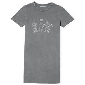 Rugrats Women's T-Shirt Dress - Black Acid Wash