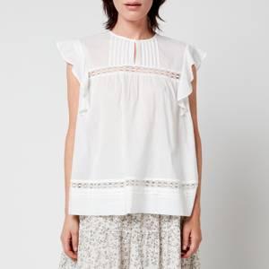 Skall Studio Women's Olive Cotton Voile Sleeveless Blouse - Optic White
