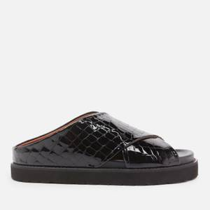 Ganni Women's Belly Croc Leather Slide Sandals - Black