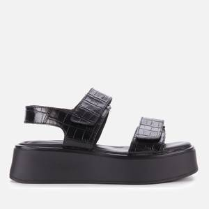 Vagabond Women's Courtney Embossed Leather Double Strap Sandals - Black/Black
