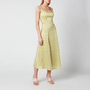 De La Vali Women's Bandana Midi Dress - Green Polka Dot