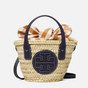 Tory Burch Women's Ella Straw Micro Basket - Natural/Midnight