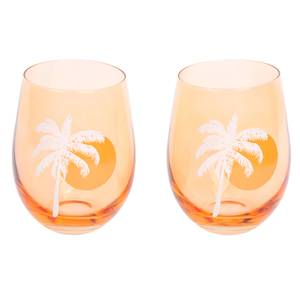 Sunnylife Cheers Stemless Glass Tumblers Desert Palms - Peachy Pink - Set of 2