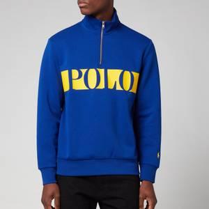 Polo Ralph Lauren Men's Half Zip Polo Stripe Sweatshirt - Heritage Royal Blue