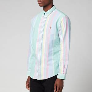 Polo Ralph Lauren Men's Slim Fit Striped Oxford Shirt - Green Pink Multi