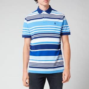 Polo Ralph Lauren Men's Custom Slim Fit Striped Mesh Polo Shirt - White Multi