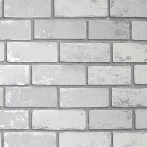 Metallic Brick White Artistick Wallpaper
