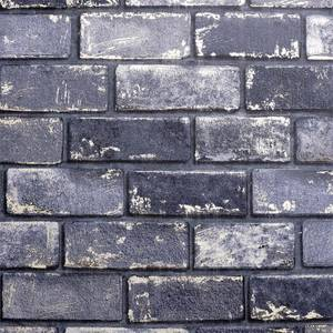 Metallic Brick Navy Artistick Wallpaper