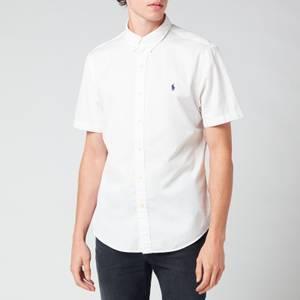 Polo Ralph Lauren Men's Slim Fit Garment Dyed Twill Short Sleeve Shirt - White