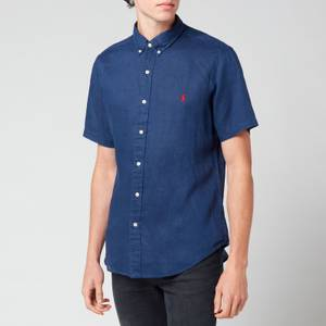 Polo Ralph Lauren Men's Slim Fit Linen Short Sleeve Shirt - Newport Navy