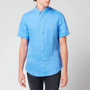 Polo Ralph Lauren Men's Slim Fit Linen Short Sleeve Shirt - Harbor Island Blue