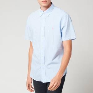 Polo Ralph Lauren Men's Custom Fit Striped Seersucker Shirt - Light Blue