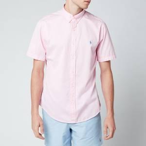 Polo Ralph Lauren Men's Slim Fit Garment Dyed Twill Short Sleeve Shirt - Carmel Pink