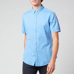 Polo Ralph Lauren Men's Slim Fit Garment Dyed Twill Short Sleeve Shirt - Cabana Blue
