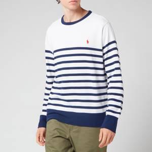 Polo Ralph Lauren Men's Striped Spa Terry Sweatshirt - White/Newport Navy
