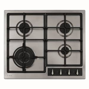 CDA HG6351BL 4 Burner Gas Hob with Front Controls and Wok Burner - 60cm - Stainless Steel