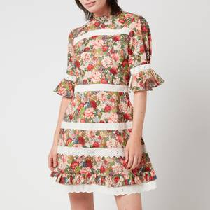 Hope & Ivy Women's The Peony Made with Liberty Fabric - Pink, Red and Green
