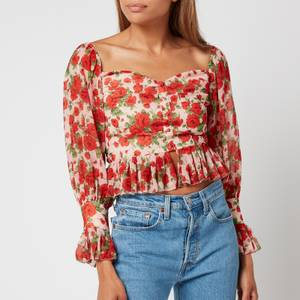 Hope & Ivy Women's The Rosie Made with Liberty Fabric - Blush and Red