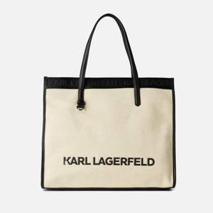 KARL LAGERFELD Women's K/Skuare Tote Bag Canvas - Natural