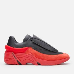 Raf Simons Men's Antei Leather Trainers - Black/Red