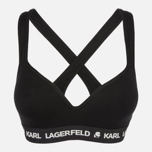 KARL LAGERFELD Women's Padded Logo Bra - Black
