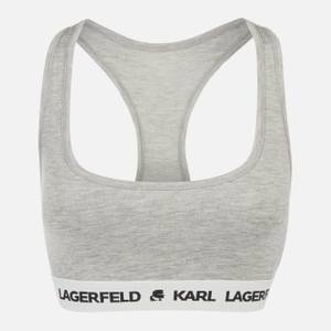 KARL LAGERFELD Women's Logo Bralette - Grey Melange