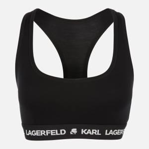 KARL LAGERFELD Women's Logo Bralette - Black