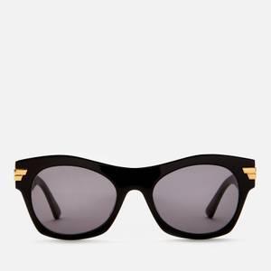 Bottega Veneta Women's Rectangle Acetate Sunglasses - Black/Grey
