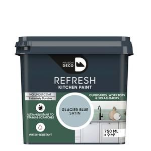 Maison Deco Refresh Kitchen Cupboards, Worktops & Splashbacks Paint Glacier Blue 750ml