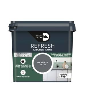 Maison Deco Refresh Kitchen Cupboards, Worktops & Splashbacks Paint Graphite 750ml