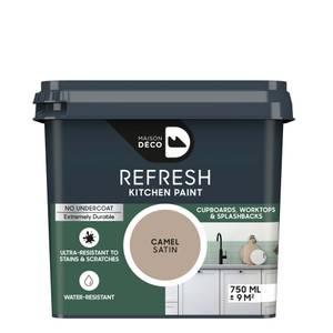 Maison Deco Refresh Kitchen Cupboards, Worktops & Splashbacks Paint Camel 750ml