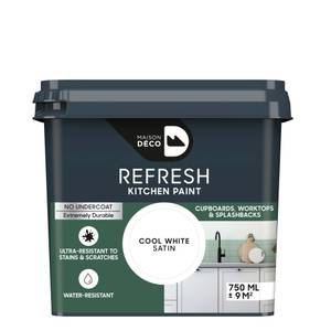 Maison Deco Refresh Kitchen Cupboards, Worktops & Splashbacks Paint Cool White 750ml
