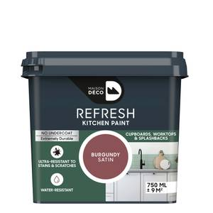 Maison Deco Refresh Kitchen Cupboards, Worktops & Splashbacks Paint Burgundy 750ml