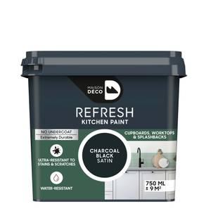 Maison Deco Refresh Kitchen Cupboards, Worktops & Splashbacks Paint Charcoal Black 750ml