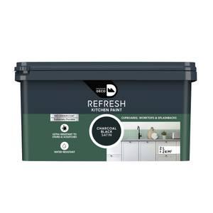 Maison Deco Refresh Kitchen Cupboards, Worktops & Splashbacks Paint Charcoal Black 2L