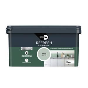 Maison Deco Refresh Kitchen Cupboards, Worktops & Splashbacks Paint Sage 2L