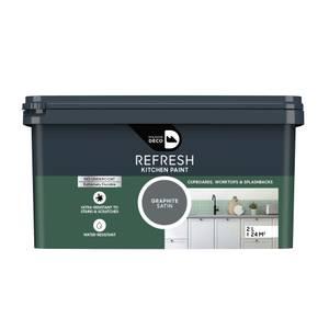 Maison Deco Refresh Kitchen Cupboards, Worktops & Splashbacks Paint Graphite 2L