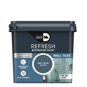 Maison Deco Refresh Bathroom Wall Tile Paint Inky Blue 750ml