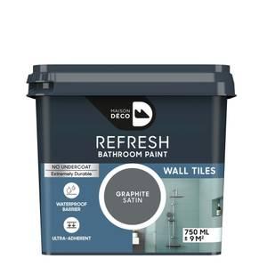 Maison Deco Refresh Bathroom Wall Tile Paint Graphite 750ml