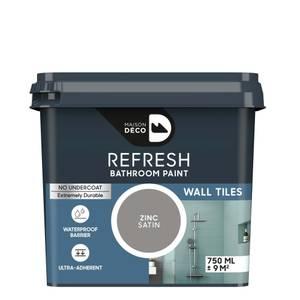 Maison Deco Refresh Bathroom Wall Tile Paint Zinc 750ml