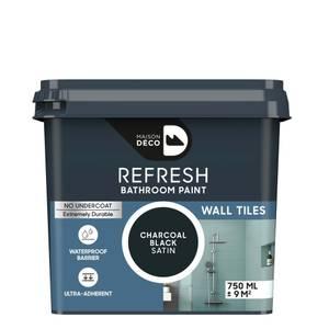 Maison Deco Refresh Bathroom Wall Tile Paint  Charcoal Black 750ml
