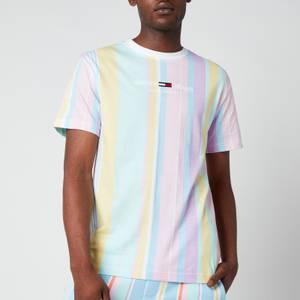 Tommy Jeans Men's Stripe 2 Crewneck T-Shirt - Romantic Pink Multi