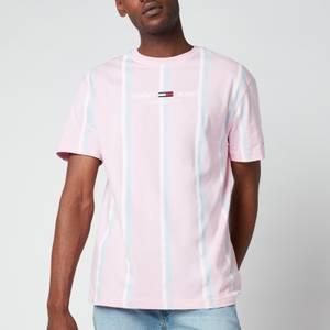 Tommy Jeans Men's Stripe 3 Crewneck T-Shirt - Romantic Pink Multi