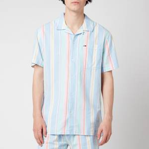 Tommy Jeans Men's Stripe 1 Short Sleeve Shirt - Light Powdery Blue Multi
