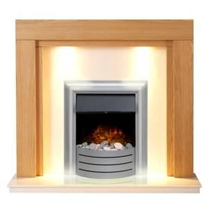 Adam Fenwick in Oak & Beige Marble with Downlights & Lynx 3-in-1 Electric Fire