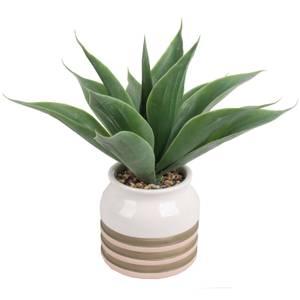 Artificial Aloe Vera in Striped Pot